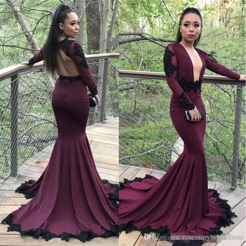 7f25908cdd4a7 Sexy Burgundy Grape Mermaid Prom Dresses 2018 Black Appliqued Long ...