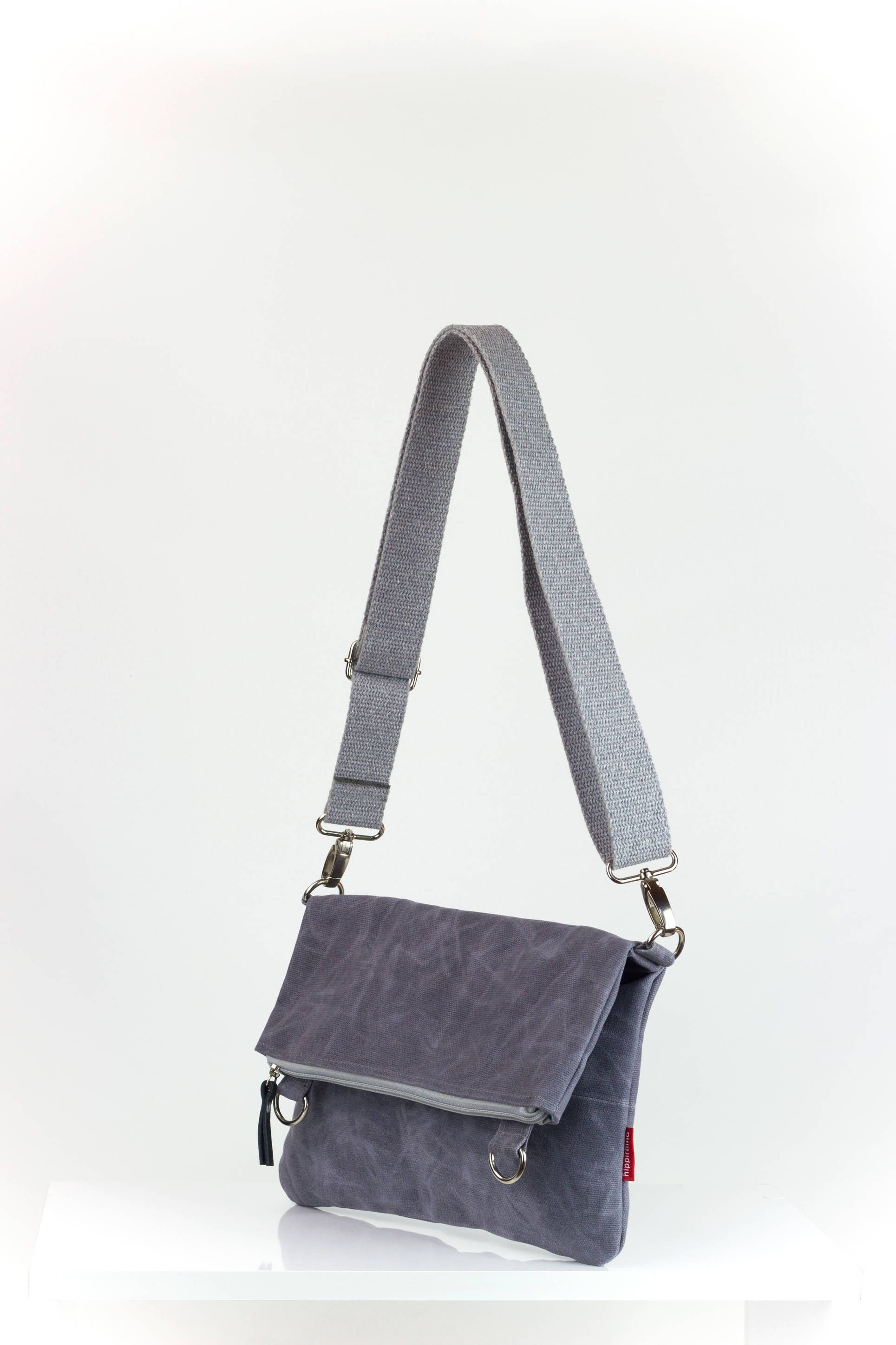 d8fcf298602b Light Grey Waxed Foldover Bag
