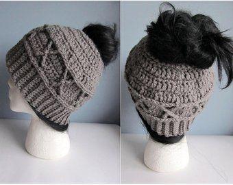 Messy Bun Hat CROCHET PATTERN - Pattern for Crochet Ponytail Hat - Messy Bun Beanie Pattern - Knit Cable Crochet Messy Bun Hat Pattern #messybunhat
