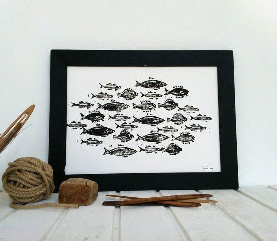 Retrouvez cet article dans ma boutique Etsy https://www.etsy.com/fr/listing/239433025/illustration-a3-banc-de-poissons