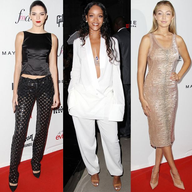 With NYFW under way, the celebs are out in style. Our fave looks include Kendall Jenner's black two piece, Rihanna's plunging white suit and Gigi Hadid's sparkling nude midi dress x #NYFW #celebrity #style #fashion #trend #inspiration #style #styleoftheday #look #hiddenfashion