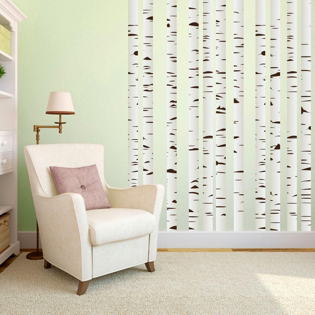 Window decor stickers  birch trees printed wall decal set  tree print wall decal sticker