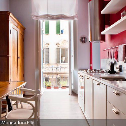 Gemütliche Küche durch warme Farben Wands and Warm - rote kuche gelbe wand