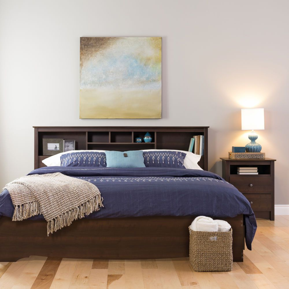 Bookcase Headboard Full/Queen Storage with Six Cubby Holes