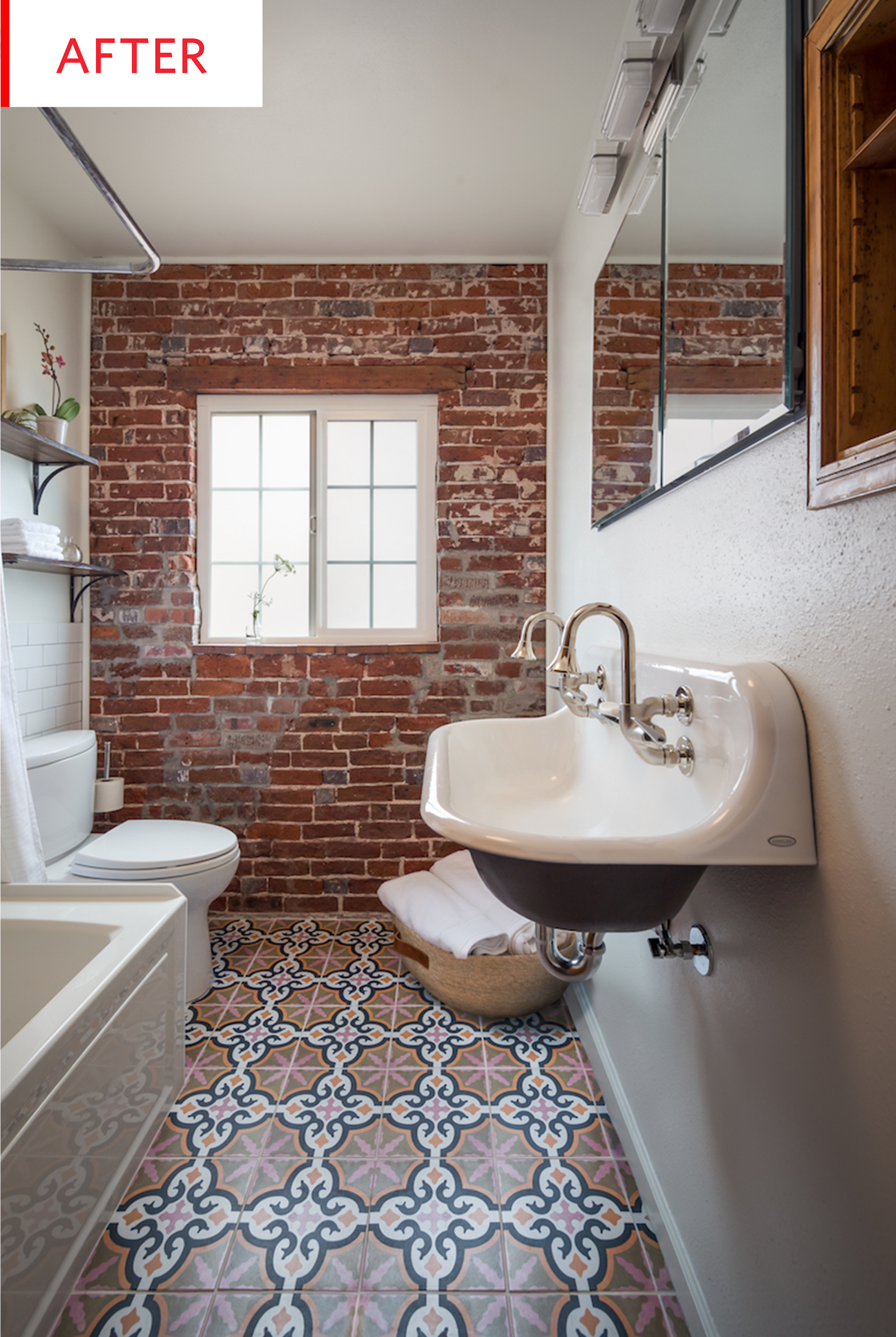 Before And After This Bathroom Tile Floor Totally Steals The Show Brick Bathroom Tile Bathroom Black Bathroom