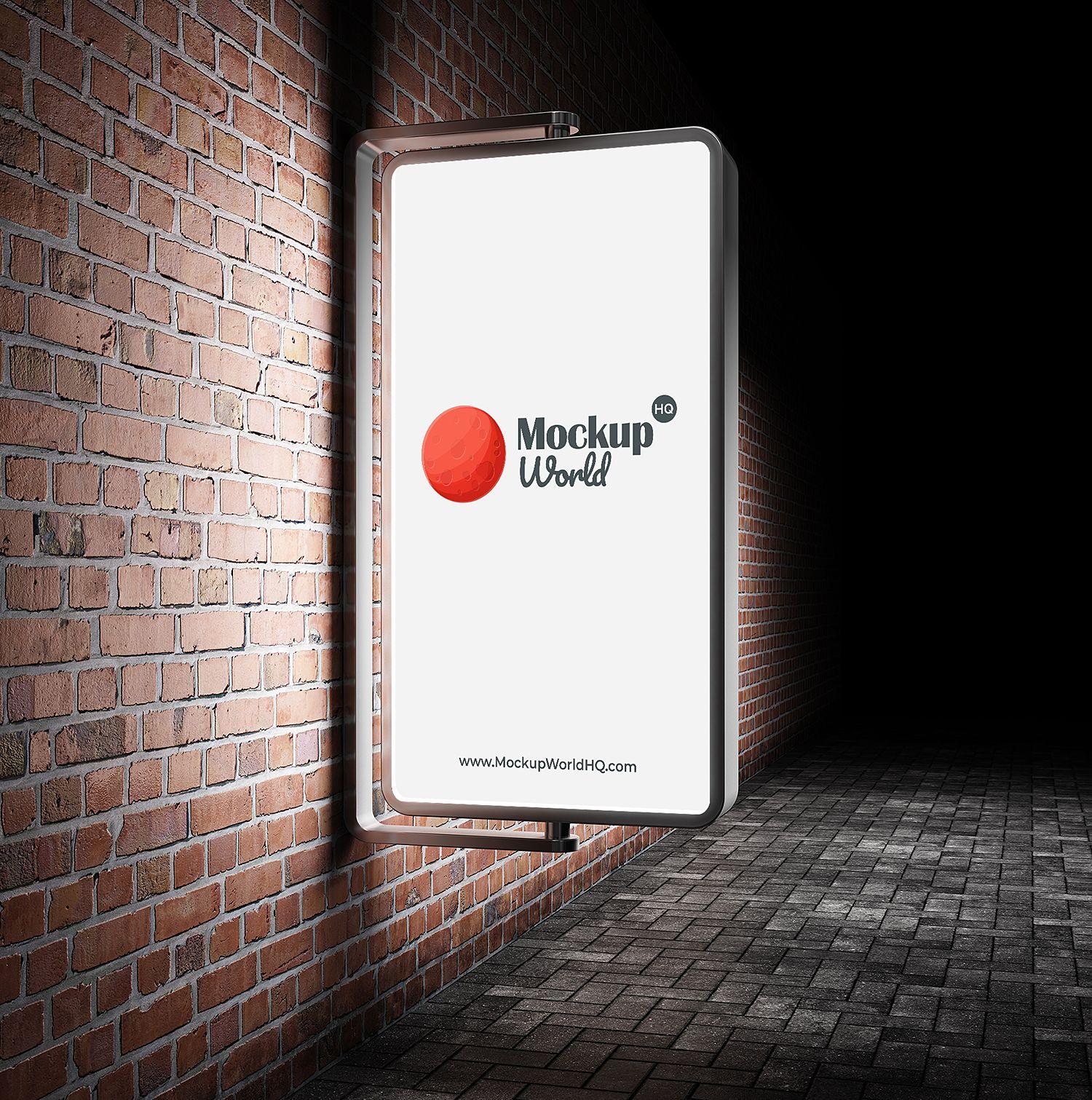 Download Outdoor Advertisement City Light Free Mockup Outdoor Advertising Mockup Sign Board Design Neon Box