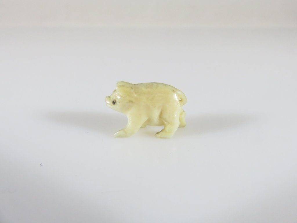 Miniature Dog Charm Hand Carved Bone Figurine AntiqueVintage Bone Dog Charm