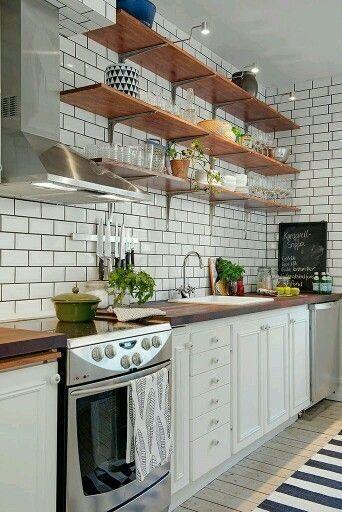 Farmhouse Kitchen Decor White Subway Tile With Dark Grey