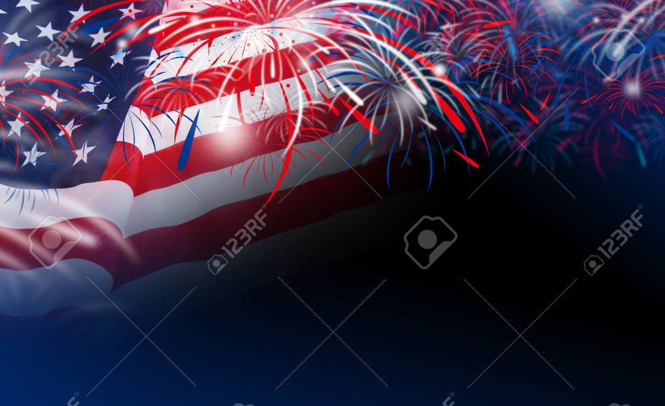 Usa Flag With Fireworks On Bokeh Background Sponsored Paid Flag Usa Fireworks Backgro Business Card Template Design Card Templates Bokeh Background