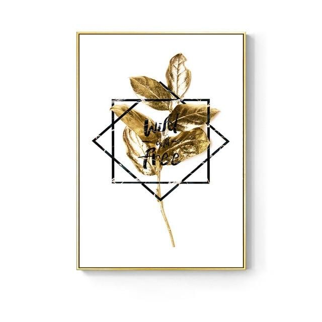 Photo of Nordic Golden Abstract Leaf Flower Wall Art, Canvas Painting Living Room Decor – D / 50X70cm No Frame