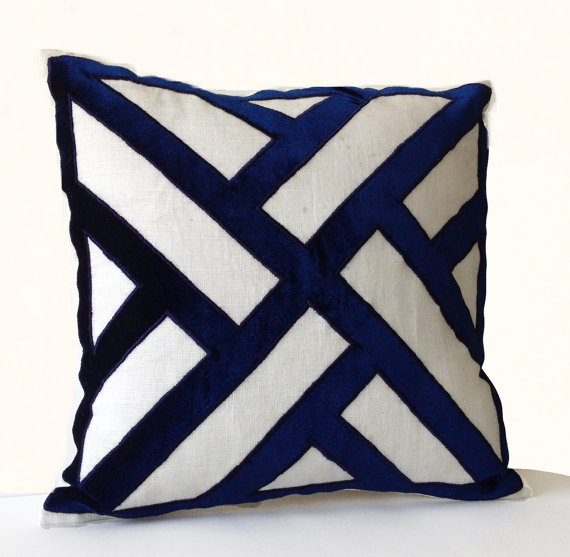 Ivory Linen Navy Blue Velvet Applique Pillow Cover  Geometric Pattern  Pillows  Contemporary Decor