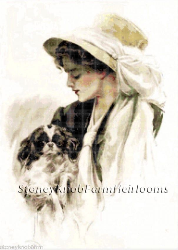 Victorian Lady & Spaniel ~ Dogs ~ Counted Cross Stitch Pattern #StoneyKnobFarmHeirlooms #CountedCrossStitch