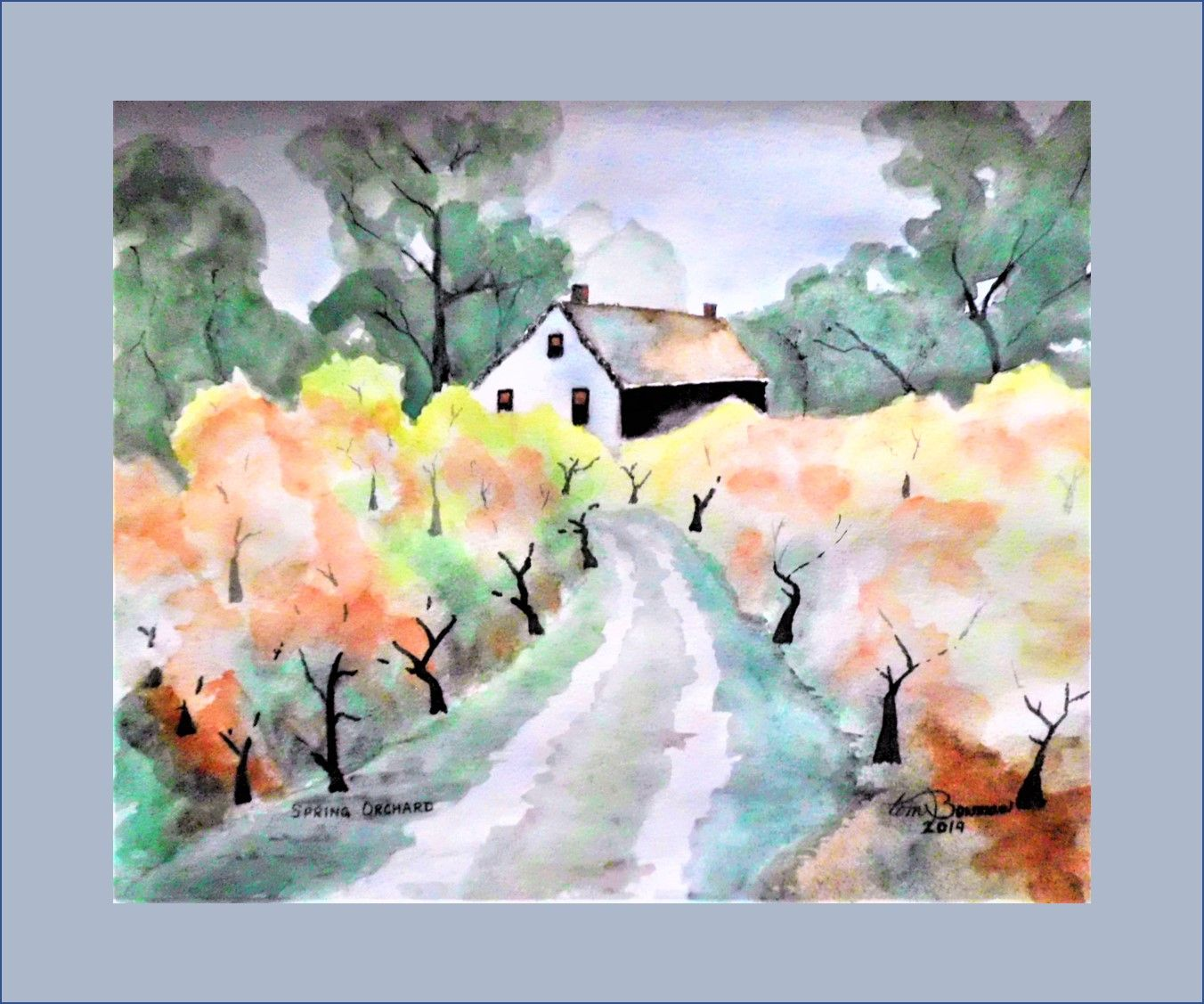 20190331 Spring Orchard Watercolor On Paper 12x15