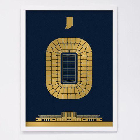 Notre Dame Stadium Screenprint Screen Printing Notre Dame Stadium
