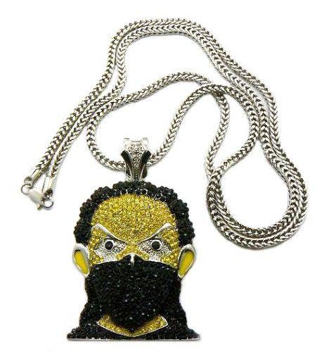 Stewie Hip Hop Chains   Black Masked Iced Out Boondock Goon Silver Diamond Cz Pendant