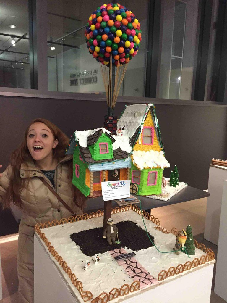 """""""Up"""" gingerbread house. Ginger for scale."""