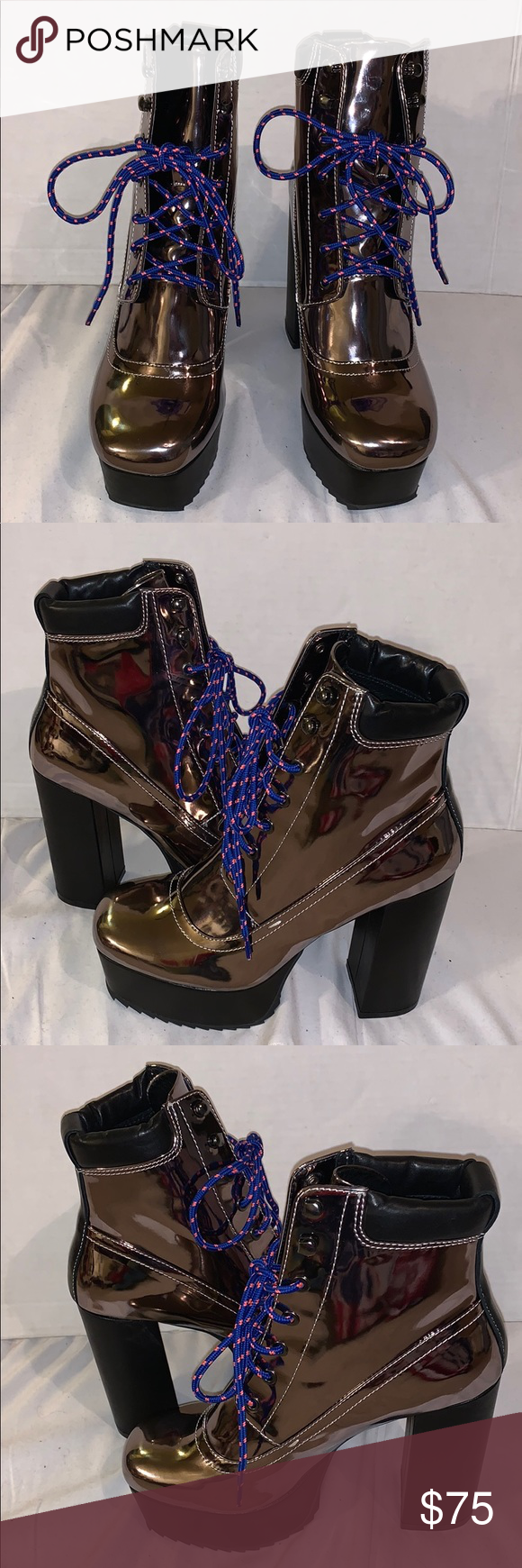 Shellys London Evan Black Floral Multi Lace Up Chunky Platform Chunky Heel Boot