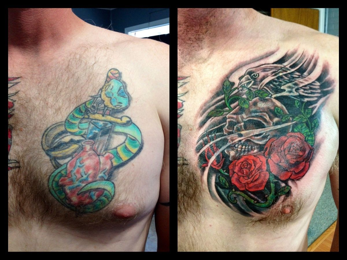 Cover up before and after tattoo skull and roses cover