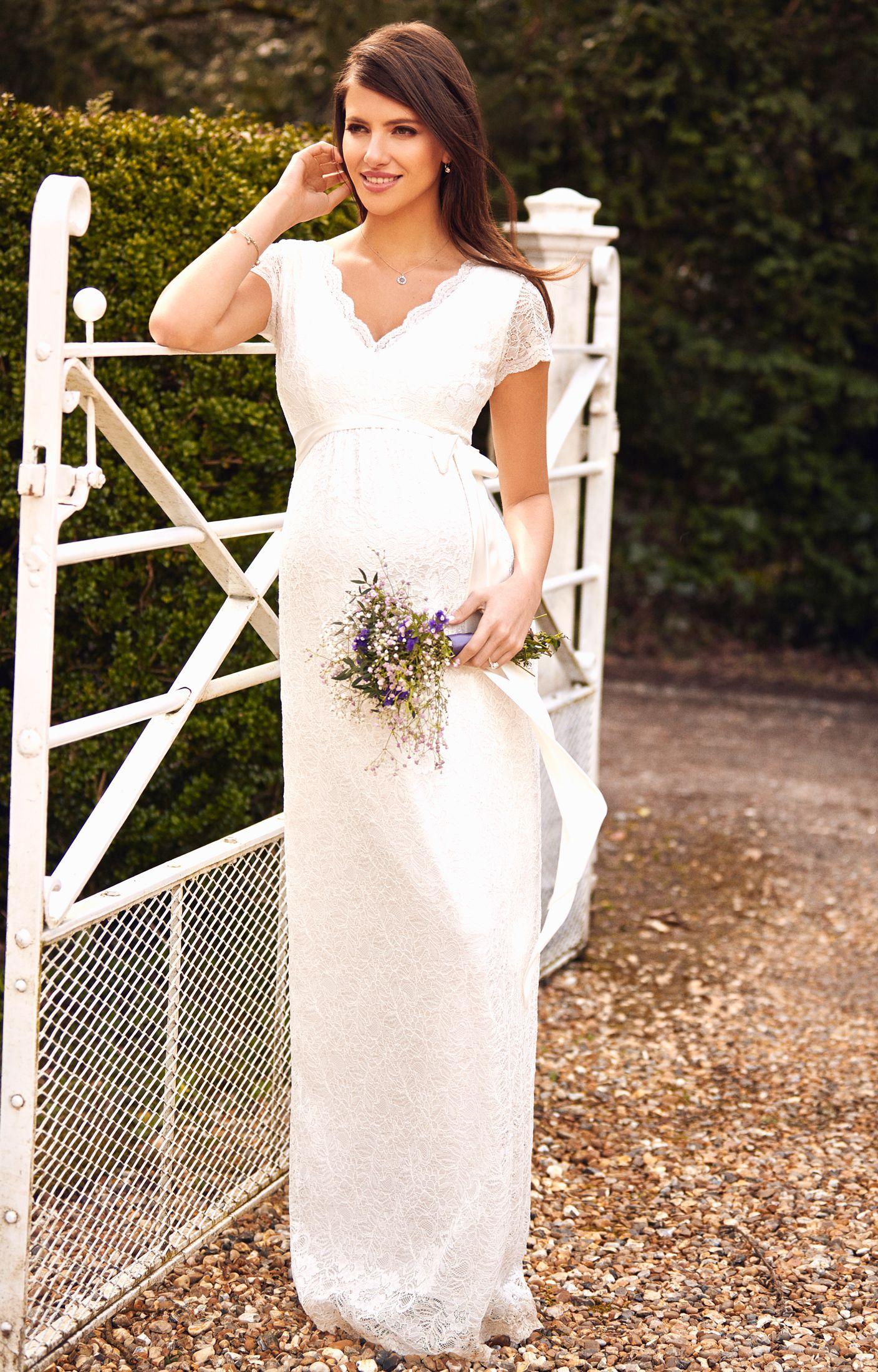 Kleid Laura Lang | Umstandshochzeitskleid, Hochzeitskleid und Elfenbein