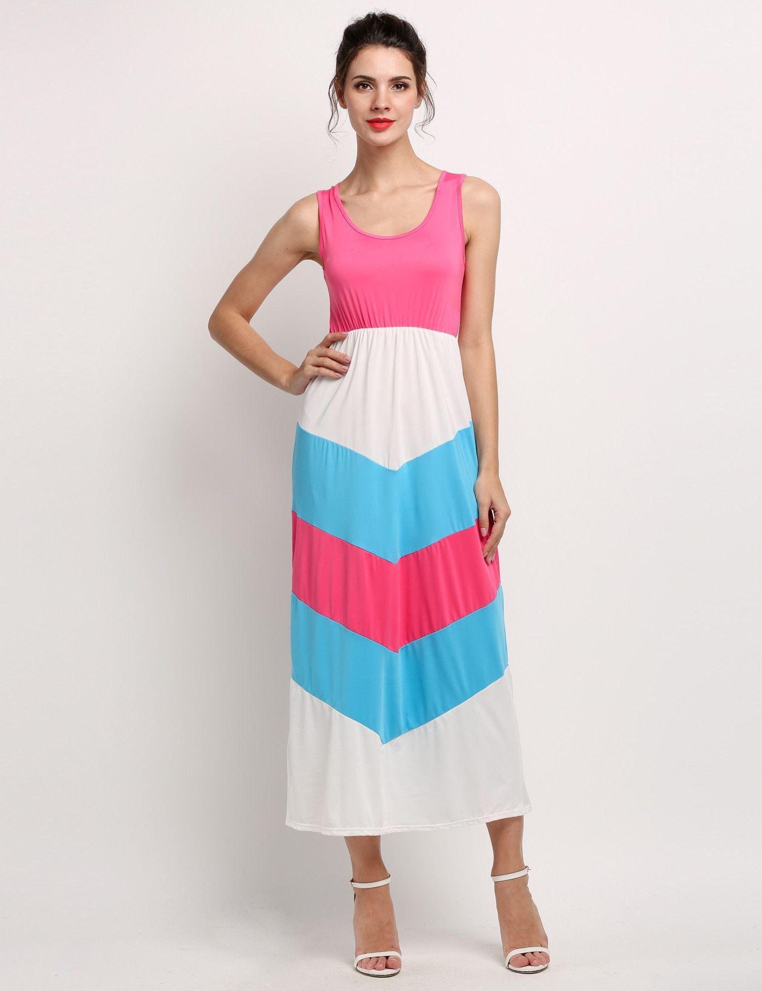Rose red new stylish lady womenus sleeveless oneck patchwork beach