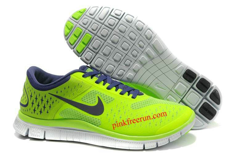 Nike free · Electric Green Night Blue Pure Platinum Nike Free 4.0 V2 Men's  Running Shoes