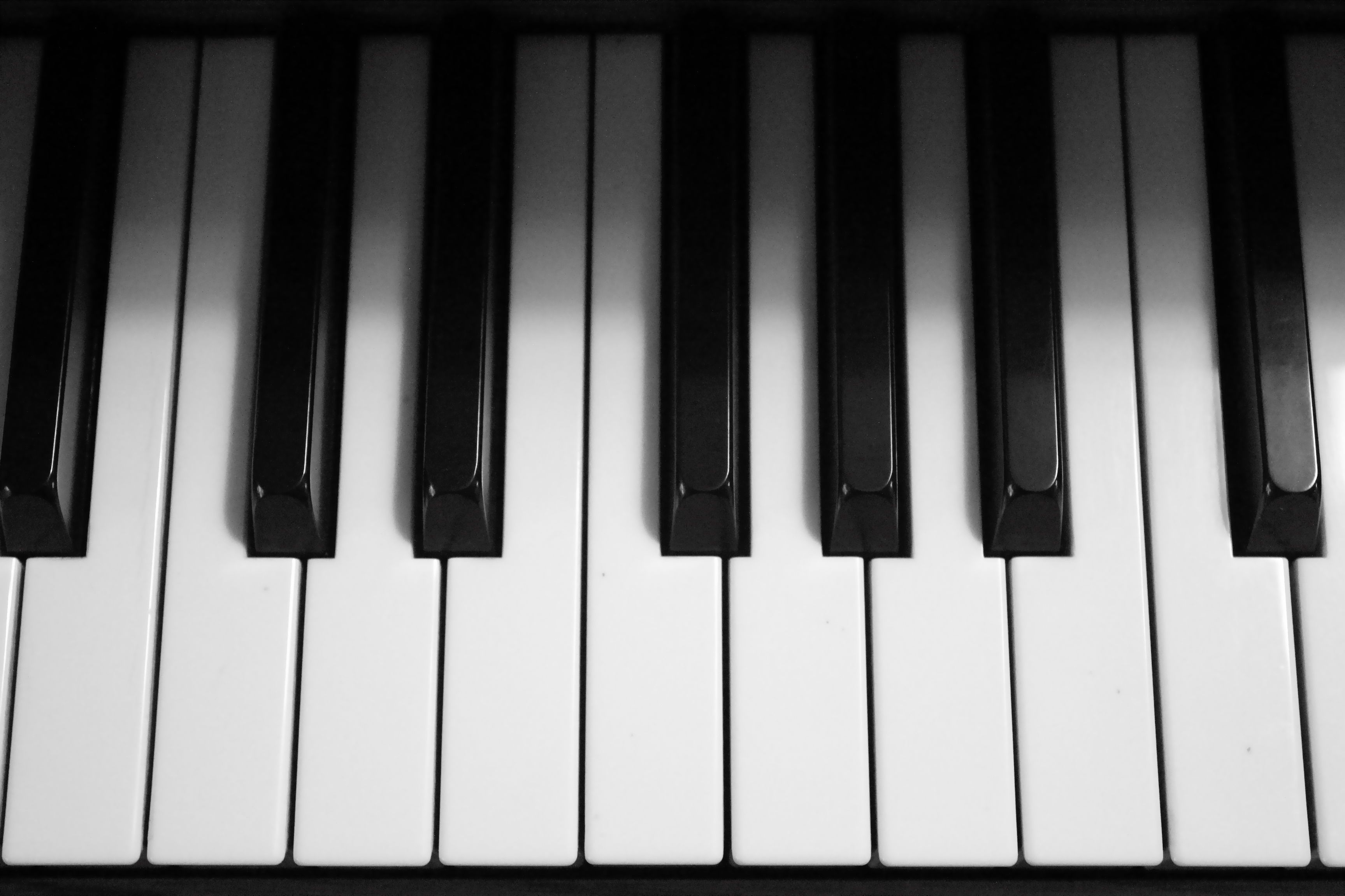 Piano keys black and white photography