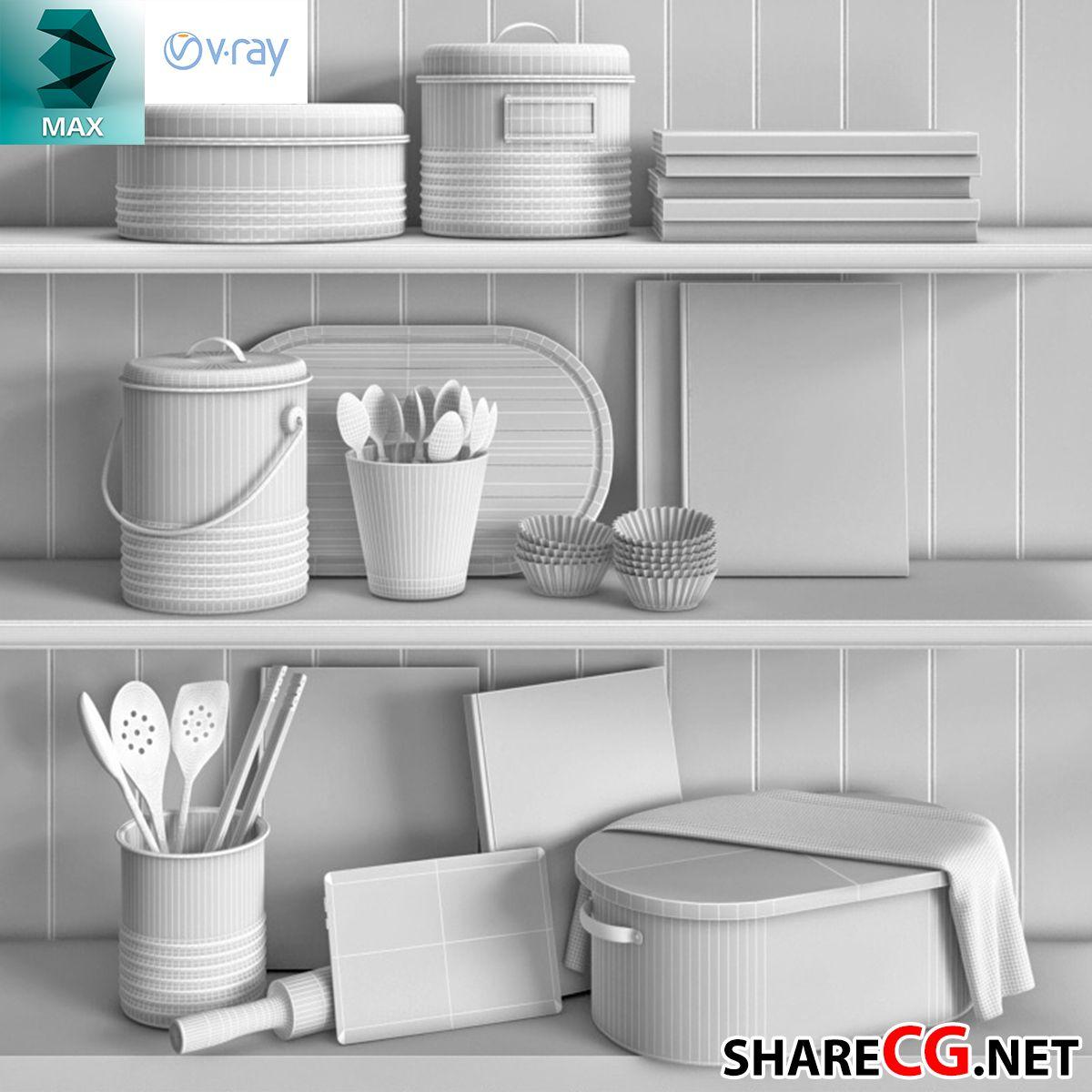 3ds Max Vintage Kitchen Decor - MX-0000042 | sharecg.net | Pinterest ...