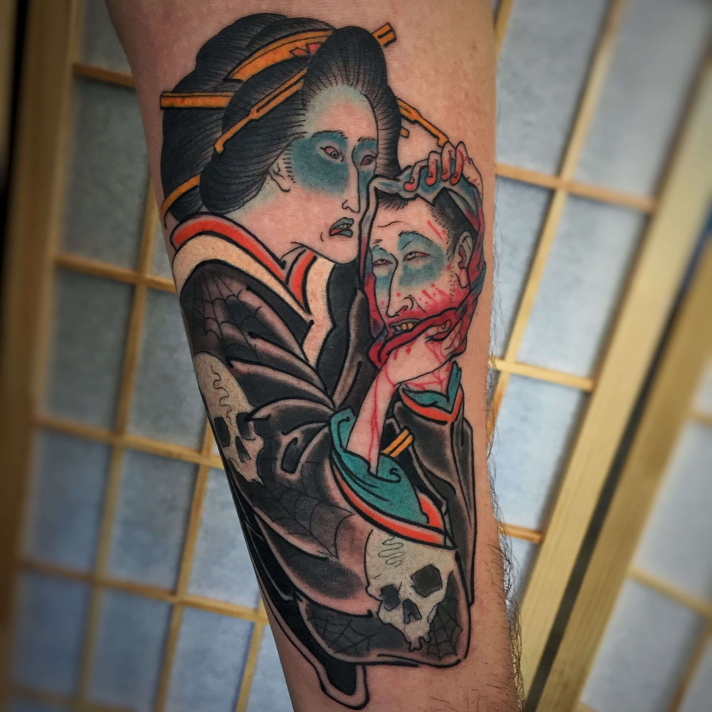 Japanese Ghost Tattoo With Severed Head Namakubi By Kyle Ward