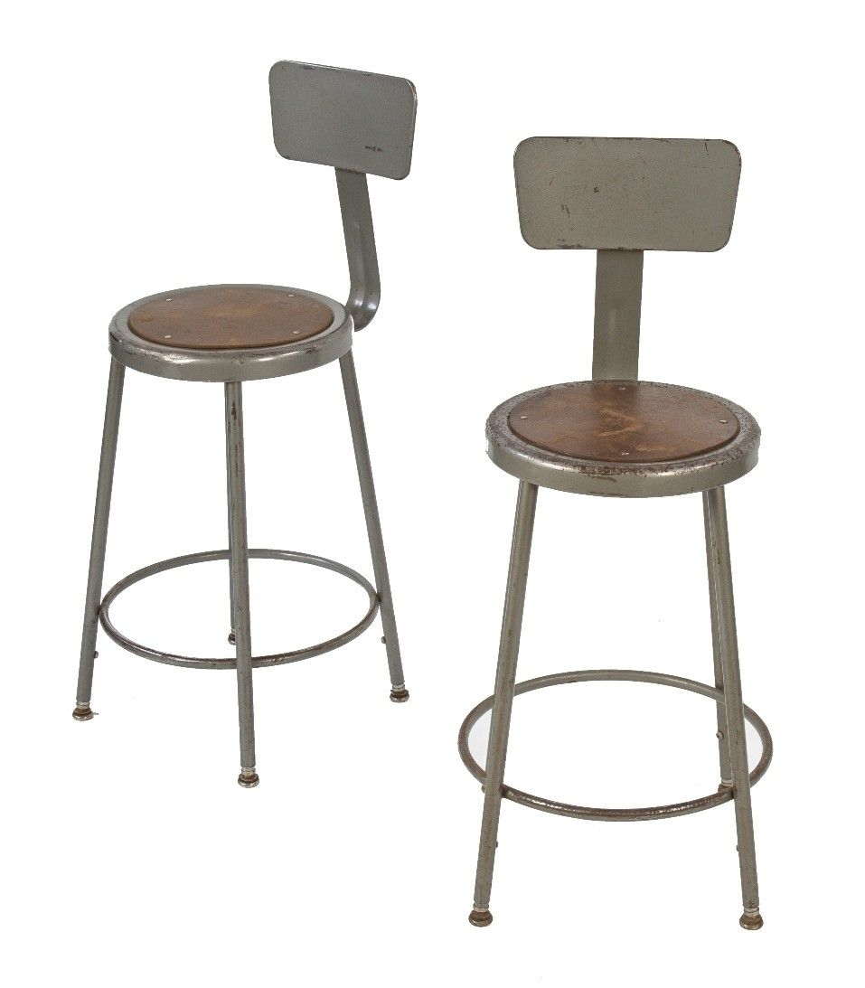 Two Matching C 1960 S Vintage American Industrial Adjustable Height Factory Shop Stools With Leg Extensions And Intact Gunship Gray Enameled Finish Shop Stool Stool Gray Enamel