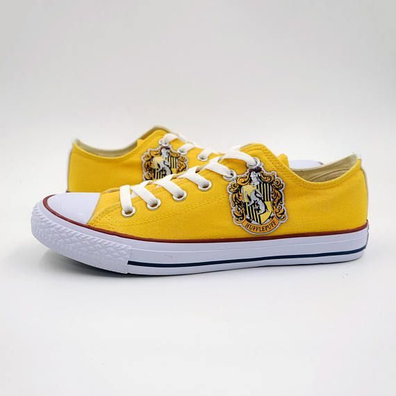 1bf12e55802d Harry Potter Hufflepuff custom Converse canvas shoes. Painted on  personalized sneakers. Unique gift for