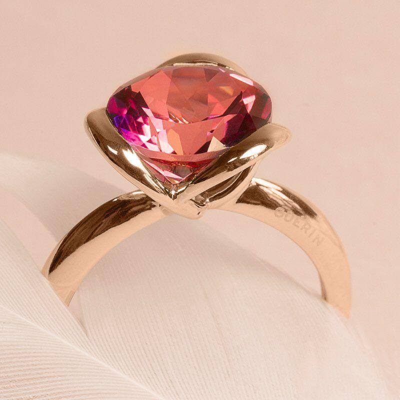 bague argent pierre rose fushia