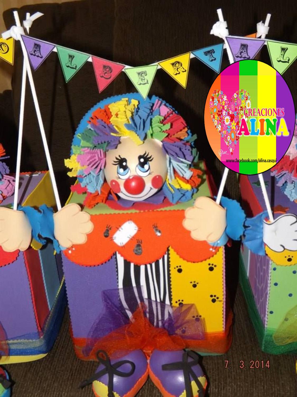 payaso caja centro de mesa   Fiesta de payasos, Cumpleaños de ...