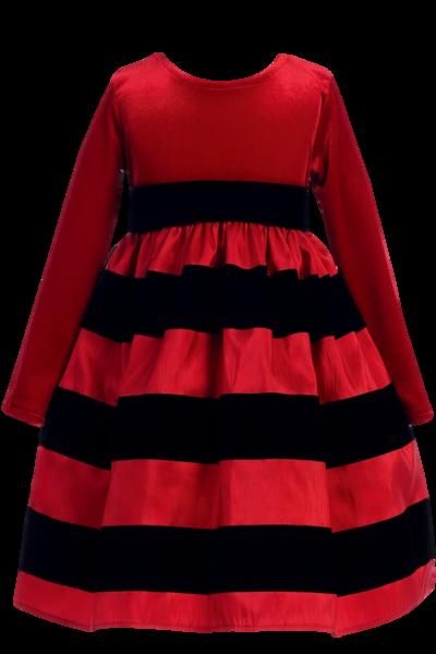 e6c2dc8731 Red Stretch Velvet   Black Flocked Taffeta Girls Christmas Dress 6M-10  (C949)