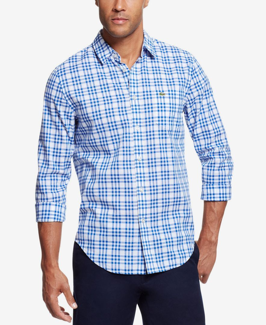 Lacoste Men's Check Poplin Long-Sleeve Shirt