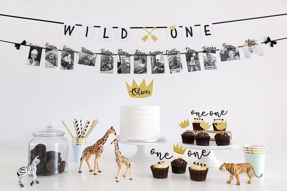 Wild ONE erste Geburtstag Party Dekorationen Pack. Kuchendeckel. Cupcake Topper. Strohhalme. Wand-Banner. 12 Monate Foto-Banner. Kuchen zerschlagen. Junge #boybirthdayparties