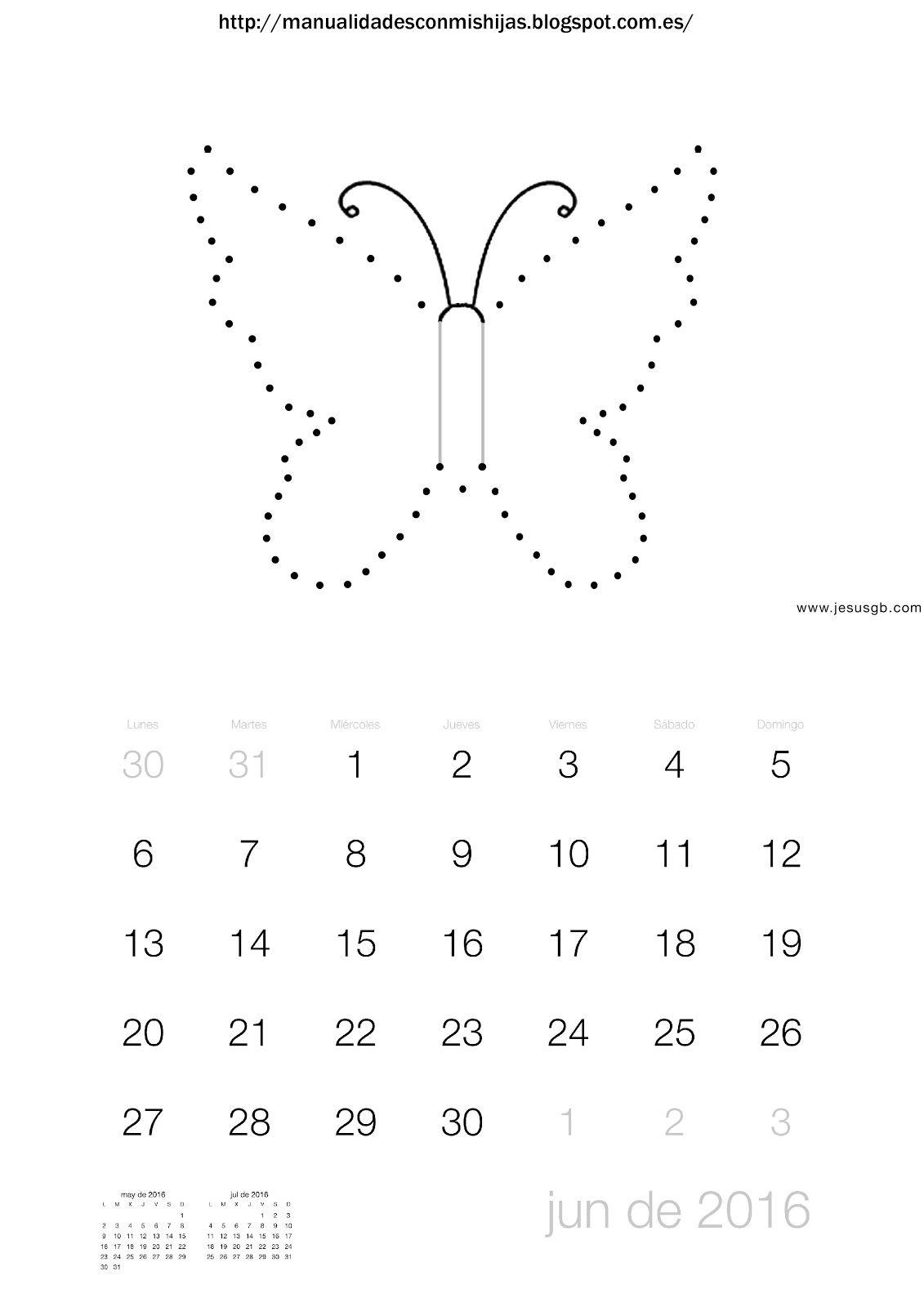 Manualidadesconmishijas: Calendario 2016 junio. unir puntos mariposa ...
