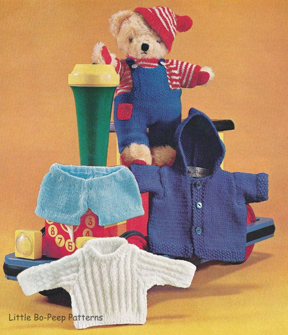 Teddy Bear Clothes DK knitting pattern [DOWNLOAD] Teddy bear clothes, Vinta...