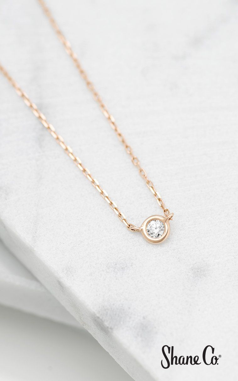 K rose gold bezelset diamond necklace in 골드제품