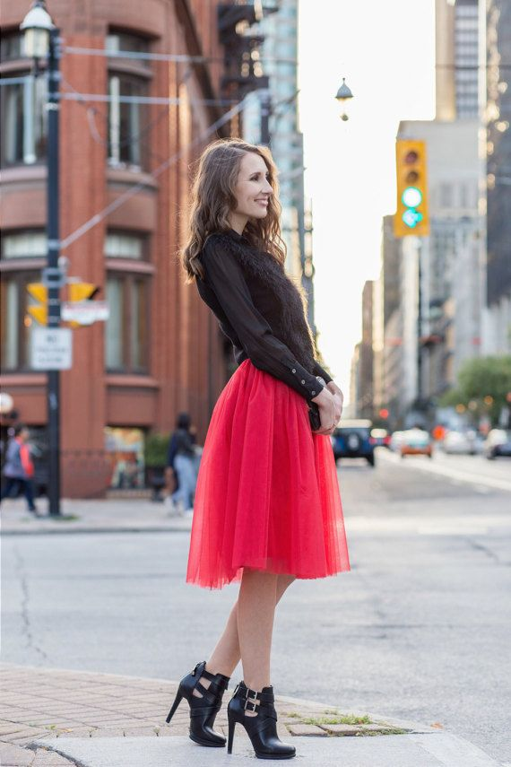 Tulle skirt; Red tutu skirt; Midi tulle skirt; Bridesmaid skirts; Bachlorette skirt; Womens tulle skirt; Balerina tulle skirt; Adult tutu