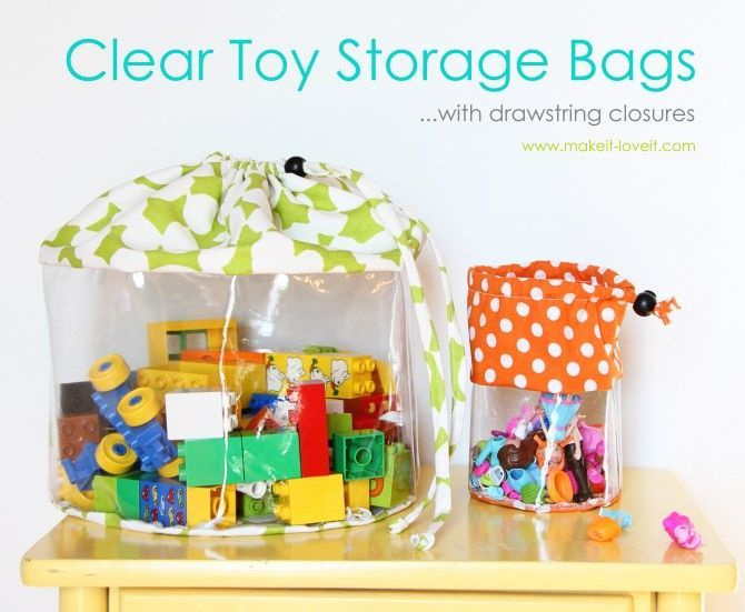 Clear Toy Storage Bags (with drawstring closure) Clear toy storage bags for baby.