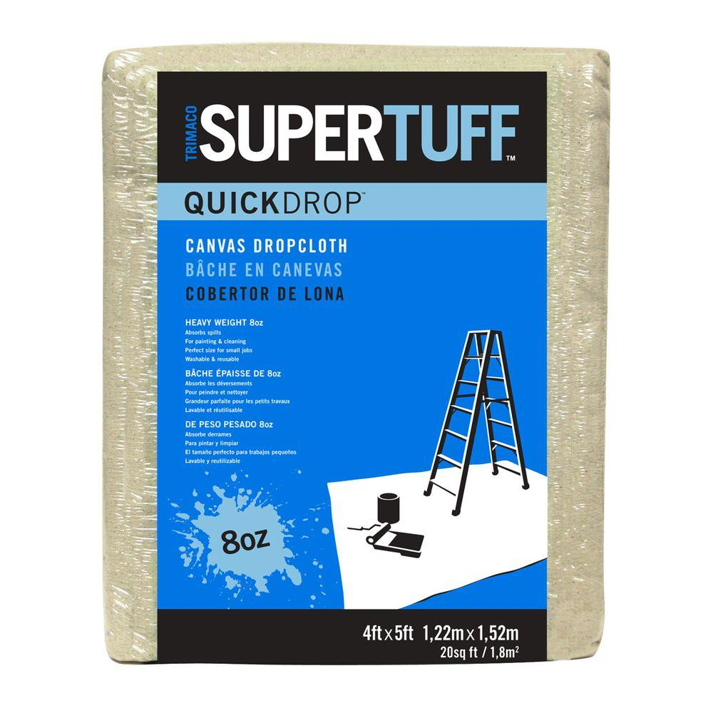 Trimaco Supertuff 8 Oz 4 Ft X 5 Ft Heavyweight Canvas Drop