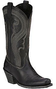 Ariat Lively Women's Pitch Black Punchy Square Toe Western Boots