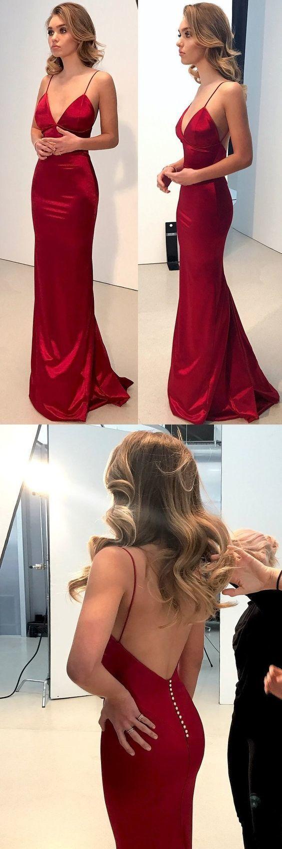 Discount sexy mermaid vneck spaghetti straps dark red prom dress