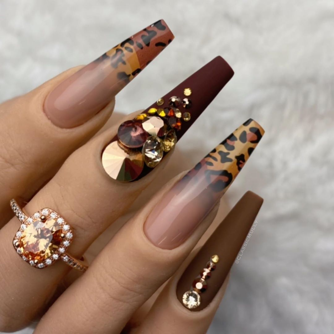 """Classic Mully on Instagram: """"Shades of copper and caramel with a leopard print and camo ombré. Foil transfer gel and Cool Fusion (polygel/acrygel), Colour It Gel…"""""""