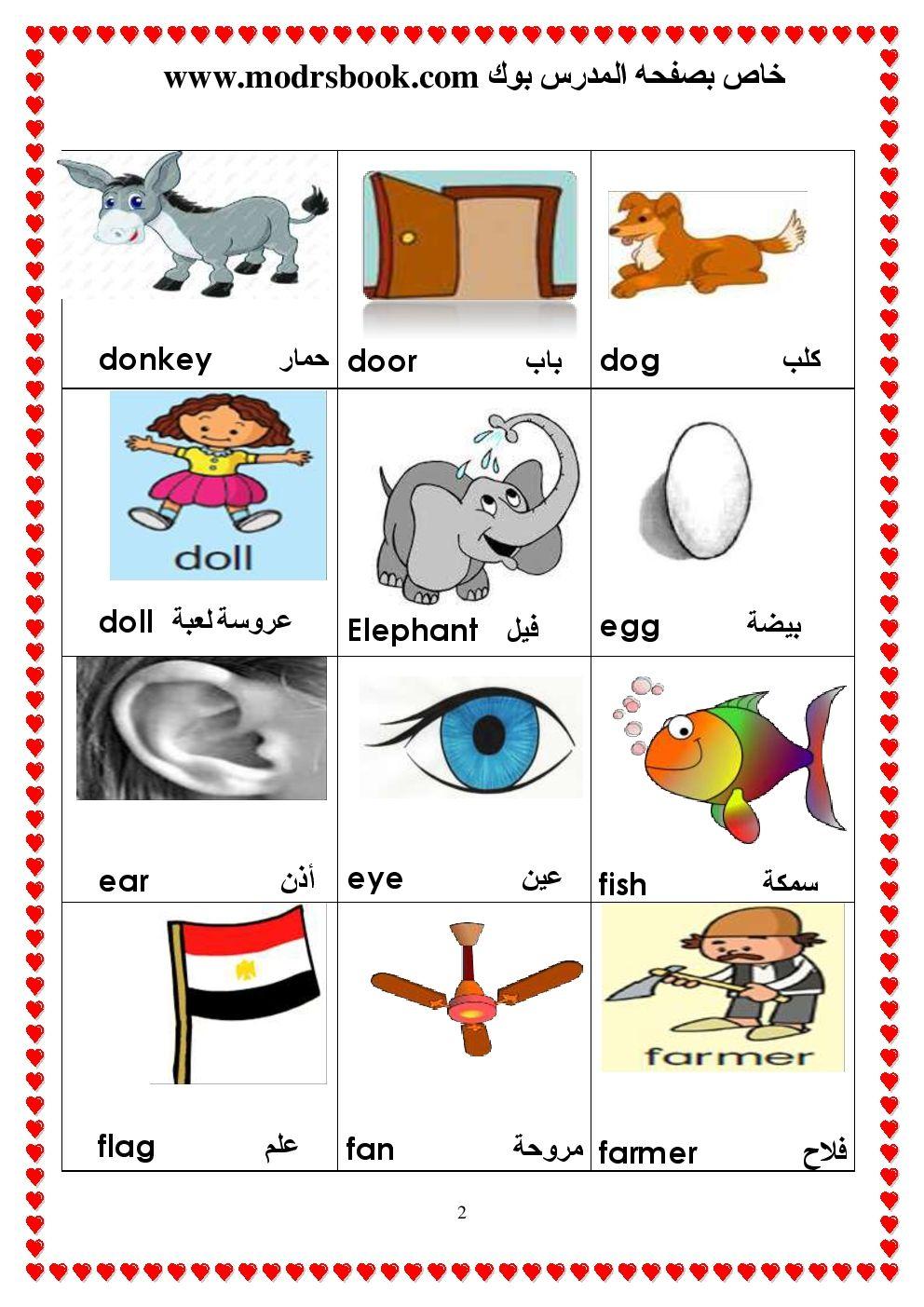 قاموس مصور من 100 كلمة انجليزي مفيد جدا للاطفال وللمراحل الاولي للتعليم مدرس بوك كتب مذكرات نتائج اخبار Education Elephant Character