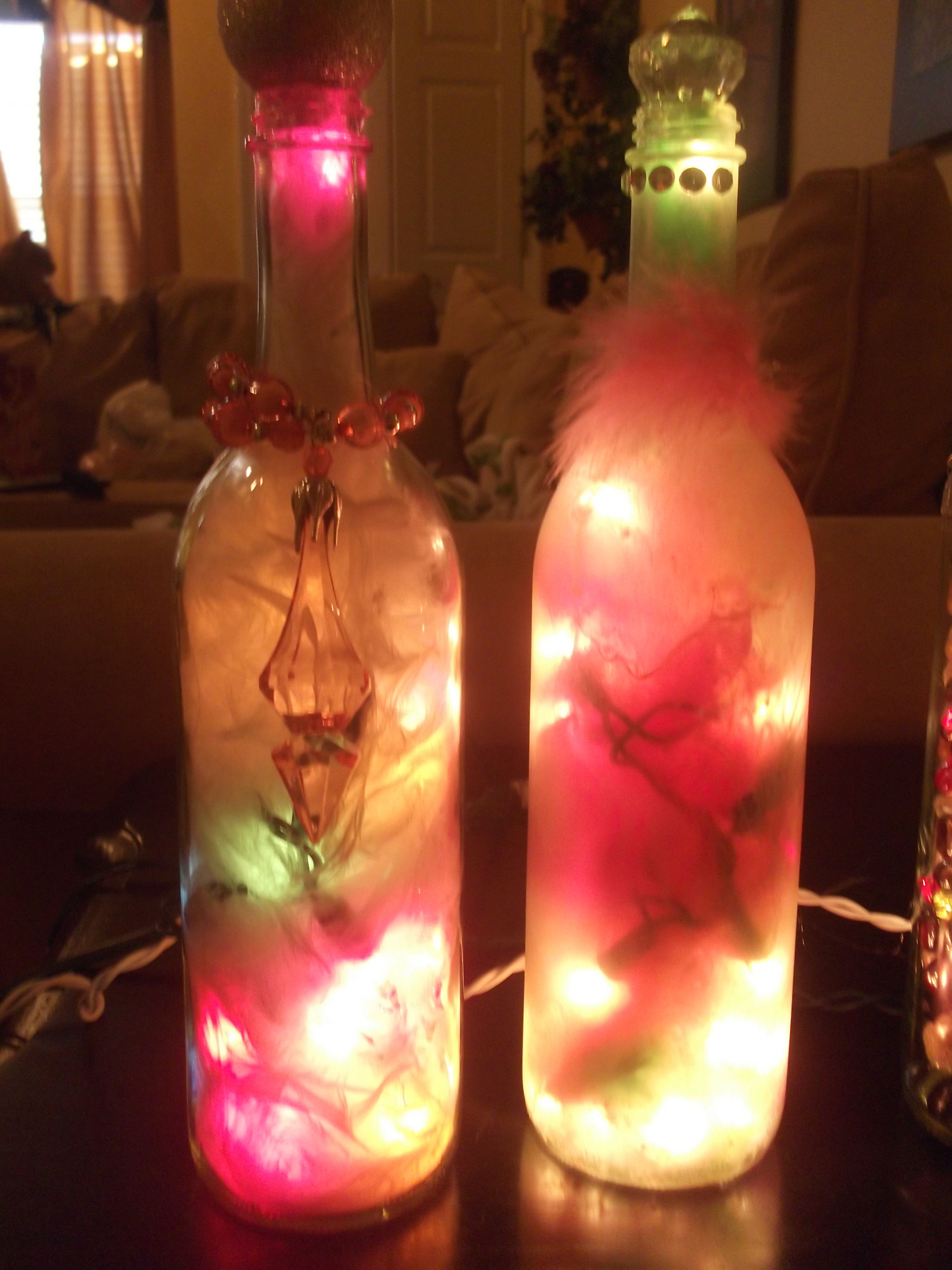 Decorative Wine Bottles With Lights And Feathers Inside Lighted Wine Bottles Wine Bottle Diy Wine Bottle Decor