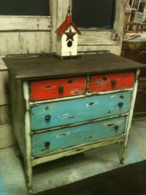 Revamped This Antique Chest Of Drawers Using Different