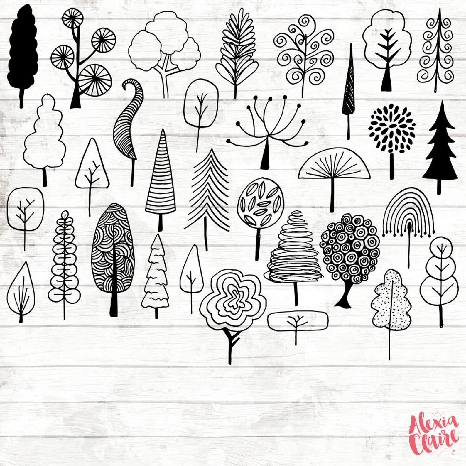 Tree Doodles Clipart 32 Hand Drawn Tree Cliparts Tree Logo