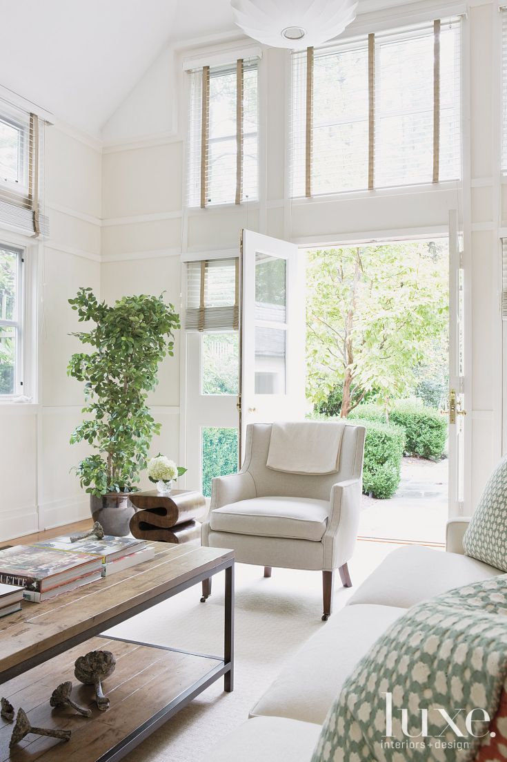 Transitional Cream Living Room with French Doors | Luxe ...