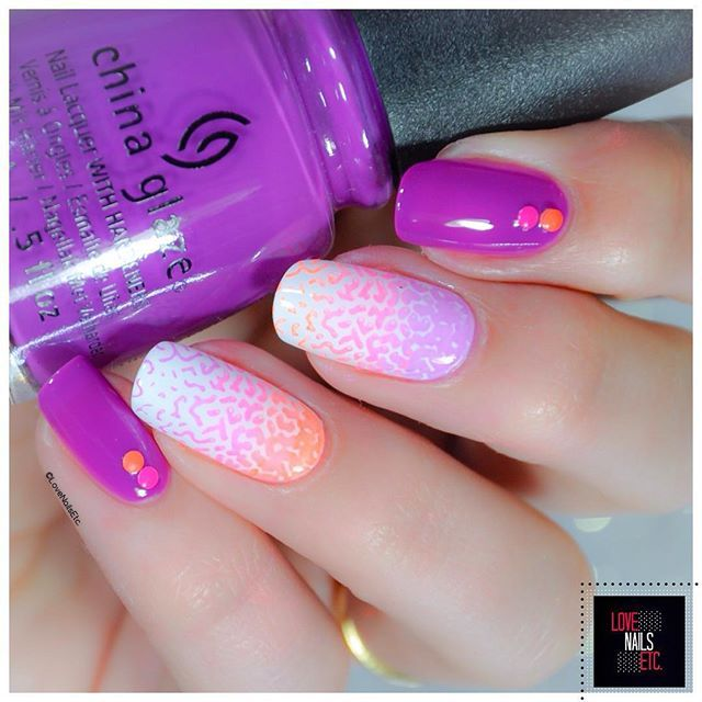 Neon @chinaglazeofficial violets-vibes - pink voltage - orange knockout @uberchicbeauty 6-03 #summer #nailart #neonnails#chinaglaze#uberchicbeauty #stampingnailart#40gnai